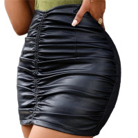 Womens Black Faux Leather Mini Skirt with Zipper A-line Bodycon PU Pencil Skirts