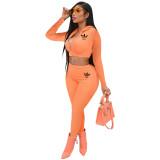 Trendy Orange Printed Hoodie Crop Top Pant Set with Zipper