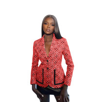 Fall Red Printed Button Women's Casual Suit Jacket
