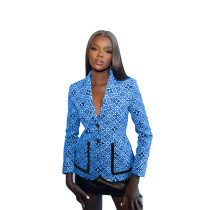 Fall Blue Printed Button Women's Casual Suit Jacket
