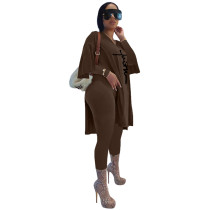Brown Women's Casual Embroidered Oversized Two Piece Outfits Long Sleeve Split Tops Long Set