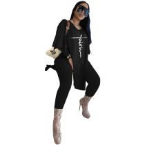 Black Women's Casual Embroidered Oversized Two Piece Outfits Long Sleeve Split Tops Long Set