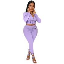 Trendy Purple Printed Hoodie Crop Top Pant Set with Zipper