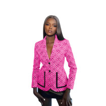 Fall Rose Printed Button Women's Casual Suit Jacket