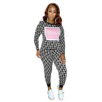 Womens Luxury Clothing 2021 Femme Black Printed Lounge Wear Sets