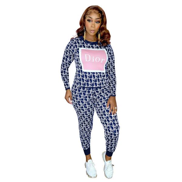 Womens Luxury Clothing 2021 Femme Blue Printed Lounge Wear Sets