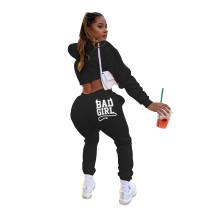 Black Letter Print Women Sweatpants Pullover Hoodies Crop Top Jogging Suit Outfits