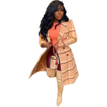 Outerwear Sexy Constructed Cut Out Double Layer Trench Plaid Coat