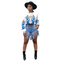 White Fire Element Printed Long Sleeve O Neck T-shirt