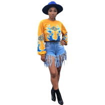 Yellow Fire Element Printed Long Sleeve O Neck T-shirt