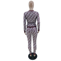 Womens Luxury Clothing 2021 Femme Wine Red Printed Lounge Wear Sets