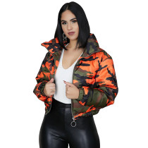 Vintage Zipper Up Camo Down Quilted Jacket
