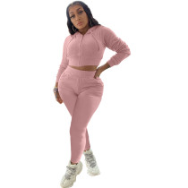 Casual Pink Two Piece Set Zipper Drawstring Hoodie Crop Top And Pants Tracksuit Women Set