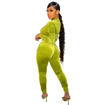 Solid Color Velvet Pocket Zipper Sports Women Sweat Suit Sets