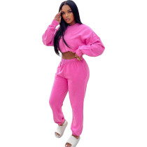 Casual Rose Sweatsuit Loose 2 Piece Women Winter Clothes with Pocket