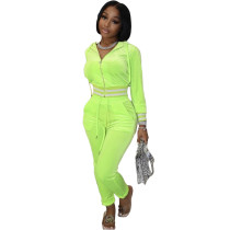 Solid Color Fluorescent Green Thick Velvet Winter Clothes For Women