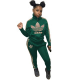 Autumn Winter Green High Neck Branded Embroidered 2 Piece Sportsuit with Zipper