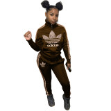 Autumn Winter Brown High Neck Branded Embroidered 2 Piece Sportsuit with Zipper
