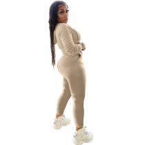 Casual Khaki Two Piece Set Zipper Drawstring Hoodie Crop Top And Pants Tracksuit Women Set
