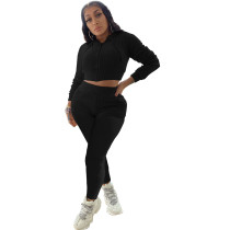 Casual Black Two Piece Set Zipper Drawstring Hoodie Crop Top And Pants Tracksuit Women Set