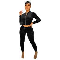 Solid Color Black Velvet Pocket Zipper Sports Women Sweat Suit Sets