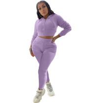 Casual Purple Two Piece Set Zipper Drawstring Hoodie Crop Top And Pants Tracksuit Women Set