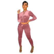 Solid Color Pink Velvet Pocket Zipper Sports Women Sweat Suit Sets