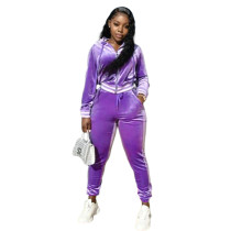 Solid Color Purple Thick Velvet Winter Clothes For Women