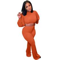 Orange Designer Clothes Famous Brands Women Woolen Knit Lantern Sleeve Crop Top Flared Pants Set