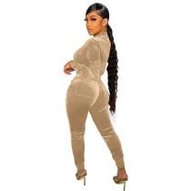 Solid Color Khaki Velvet Pocket Zipper Sports Women Sweat Suit Sets