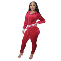 Solid Color Wine Red Thick Velvet Winter Clothes For Women