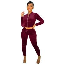 Solid Color Wine Red Velvet Pocket Zipper Sports Women Sweat Suit Sets
