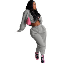 Casual Grey Sweatsuit Loose 2 Piece Women Winter Clothes with Pocket