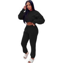 Casual Black Sweatsuit Loose 2 Piece Women Winter Clothes with Pocket