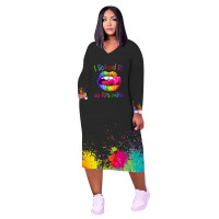 Loose Casual Plus Size Printed Lips Letter Party Dress