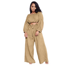 Solid Color Khaki Two Piece Pockets Pleated Crop Top and Strap Wide Leg Trousers