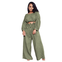 Solid Color Army Green Two Piece Pockets Pleated Crop Top and Strap Wide Leg Trousers
