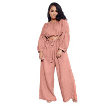 Solid Color Pink Two Piece Pockets Pleated Crop Top and Strap Wide Leg Trousers
