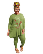 Hot Drilling Green Plus Size 5XL Round Neck Two Pieces Fall Set