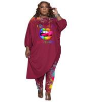Women's Wine Red Plus Size Pant Set 3/4 Length Sleeve Lips Printed Pattern Fall Set