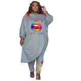 Women's Grey Plus Size Pant Set 3/4 Length Sleeve Lips Printed Pattern Fall Set