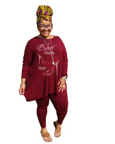 Hot Drilling Wine Red Plus Size 5XL Round Neck Two Pieces Fall Set
