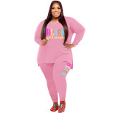 Casual Pink Print Letter Split Joint V Neck Plus Size Two Pieces