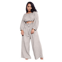 Solid Color Grey Two Piece Pockets Pleated Crop Top and Strap Wide Leg Trousers