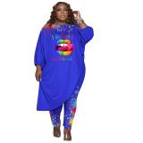 Women's Blue Plus Size Pant Set 3/4 Length Sleeve Lips Printed Pattern Fall Set