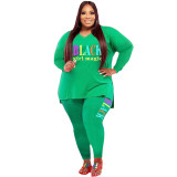 Casual Green Print Letter Split Joint V Neck Plus Size Two Pieces