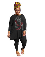 Hot Drilling Black Plus Size 5XL Round Neck Two Pieces Fall Set