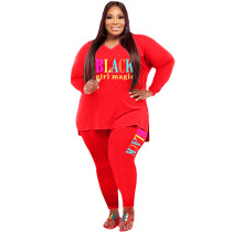 Casual Red Print Letter Split Joint V Neck Plus Size Two Pieces