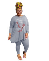 Hot Drilling Grey Plus Size 5XL Round Neck Two Pieces Fall Set
