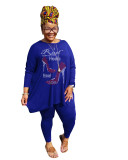 Hot Drilling Blue Plus Size 5XL Round Neck Two Pieces Fall Set